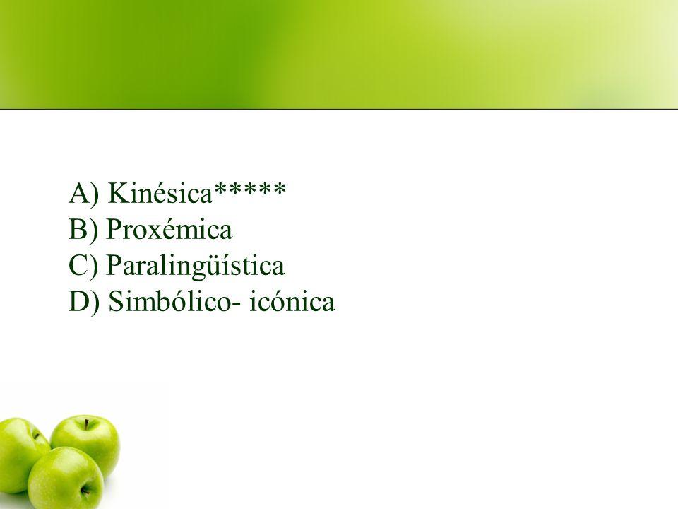 3. Sacar la lengua, es un signo propio de comunicación: A) Kinésica B) Proxémica C) Paralingüística D) Simbólico- icónica