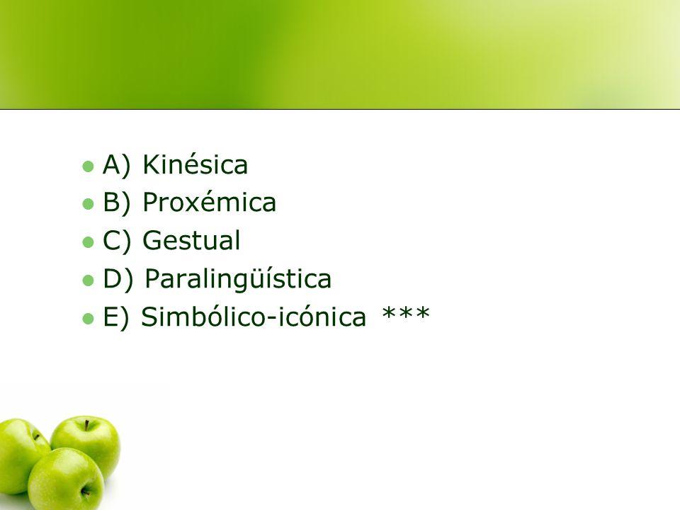 8. El siguiente cartel de una carretera utiliza comunicación no verbal: A) Kinésica B) Proxémica C) Gestual D) Paralingüística E) Simbólico-icónica