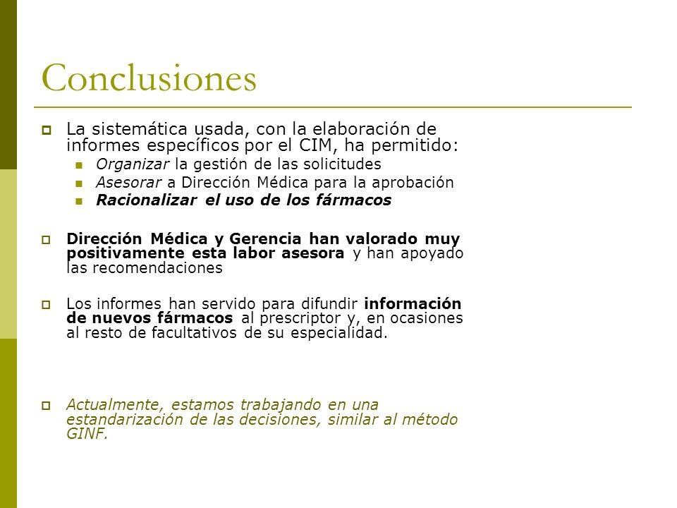 Conclusiones La sistemática usada, con la elaboración de informes específicos por el CIM, ha permitido: Organizar la gestión de las solicitudes Asesor