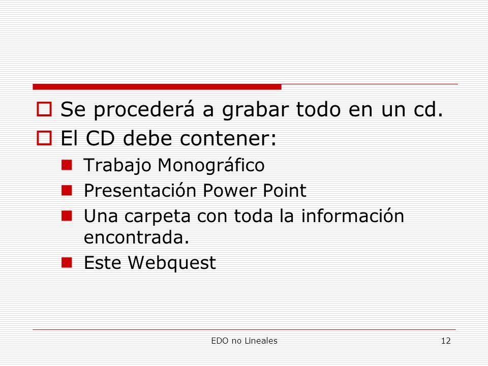 EDO no Lineales12 Se procederá a grabar todo en un cd. El CD debe contener: Trabajo Monográfico Presentación Power Point Una carpeta con toda la infor