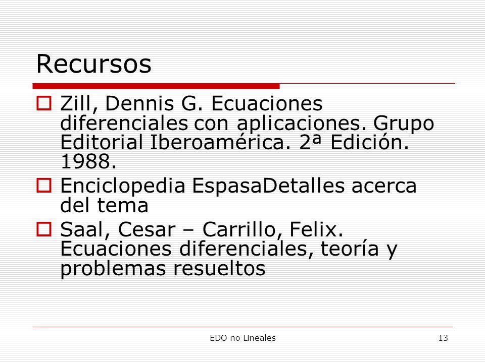 EDO no Lineales13 Recursos Zill, Dennis G. Ecuaciones diferenciales con aplicaciones. Grupo Editorial Iberoamérica. 2ª Edición. 1988. Enciclopedia Esp