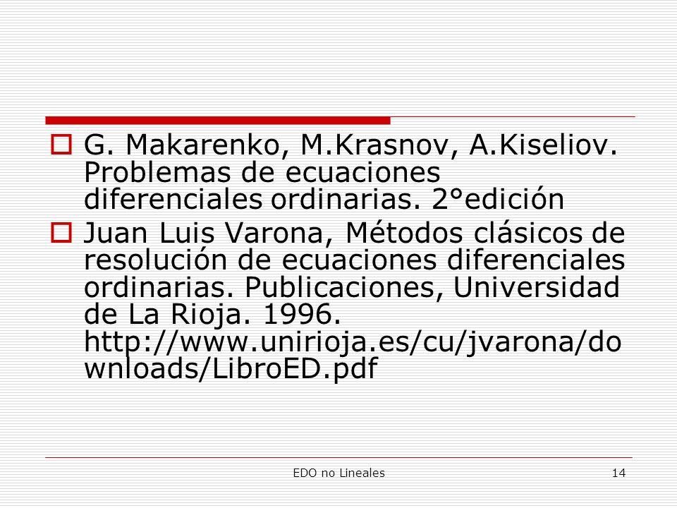 EDO no Lineales14 G. Makarenko, M.Krasnov, A.Kiseliov. Problemas de ecuaciones diferenciales ordinarias. 2°edición Juan Luis Varona, Métodos clásicos
