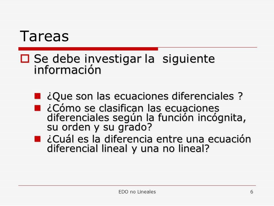 EDO no Lineales6 Tareas Se debe investigar la siguiente información Se debe investigar la siguiente información ¿Que son las ecuaciones diferenciales