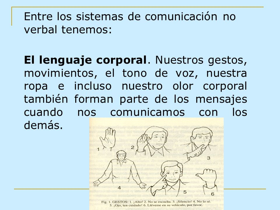Entre los sistemas de comunicación no verbal tenemos: El lenguaje corporal. Nuestros gestos, movimientos, el tono de voz, nuestra ropa e incluso nuest