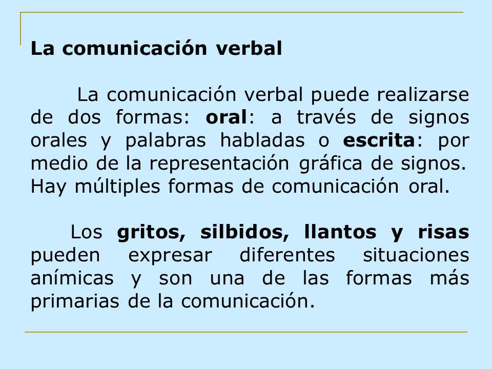 La comunicación verbal La comunicación verbal puede realizarse de dos formas: oral: a través de signos orales y palabras habladas o escrita: por medio