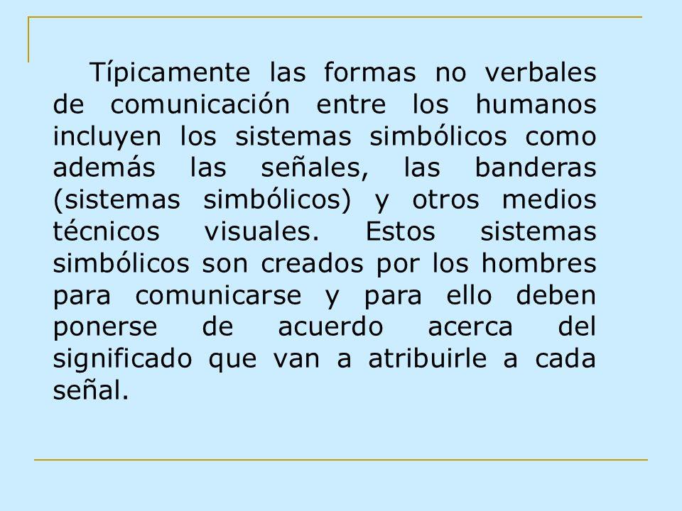 Típicamente las formas no verbales de comunicación entre los humanos incluyen los sistemas simbólicos como además las señales, las banderas (sistemas
