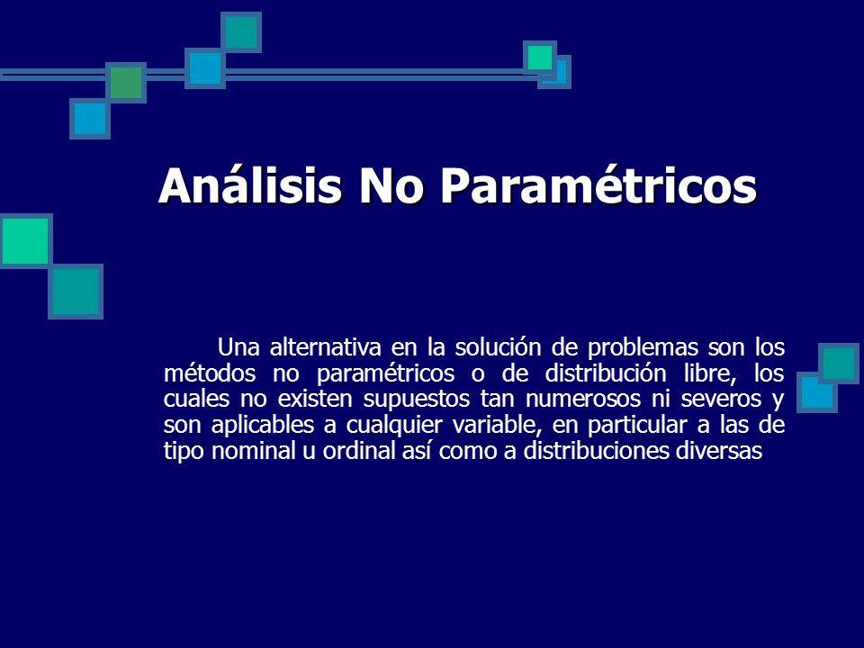 Análisis No Paramétricos Una alternativa en la solución de problemas son los métodos no paramétricos o de distribución libre, los cuales no existen su