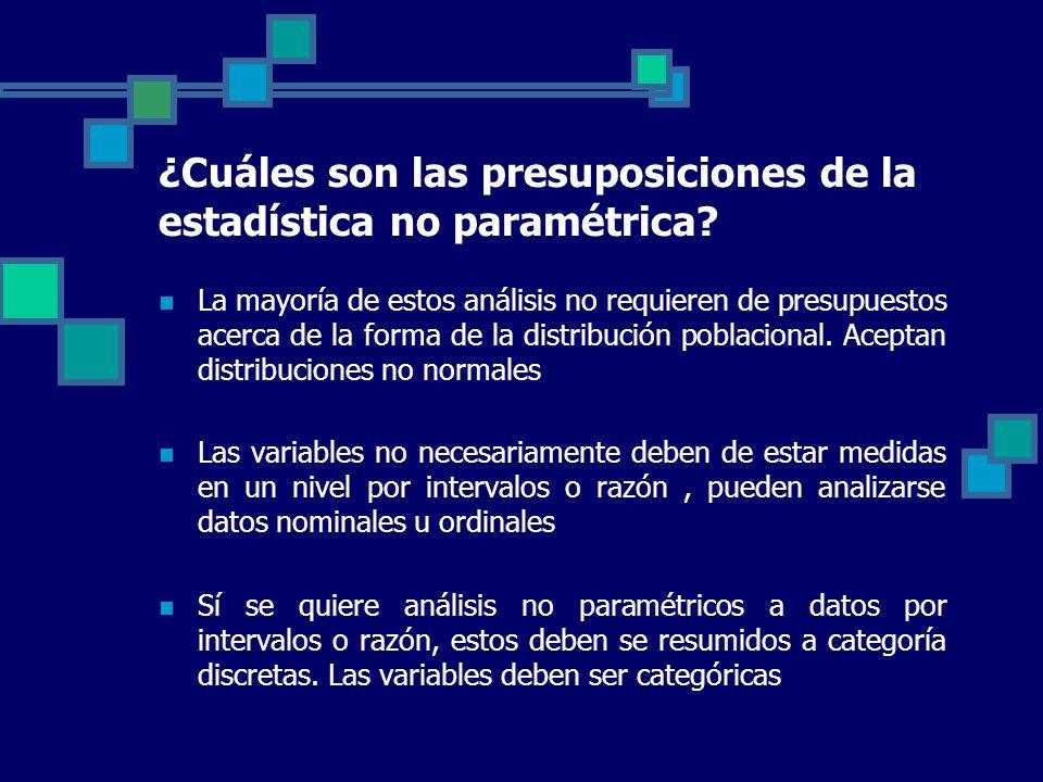 ¿Cuáles son las presuposiciones de la estadística no paramétrica? La mayoría de estos análisis no requieren de presupuestos acerca de la forma de la d