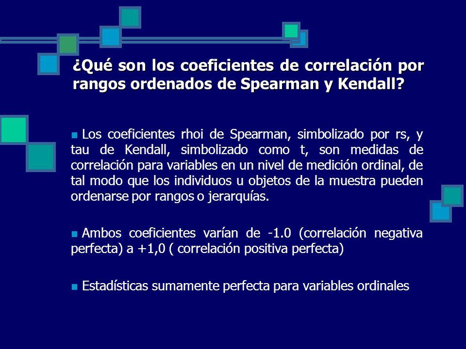 ¿Qué son los coeficientes de correlación por rangos ordenados de Spearman y Kendall? Los coeficientes rhoi de Spearman, simbolizado por rs, y tau de K