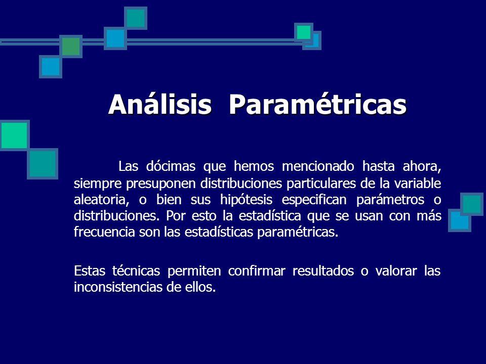 Análisis Paramétricas Las dócimas que hemos mencionado hasta ahora, siempre presuponen distribuciones particulares de la variable aleatoria, o bien su