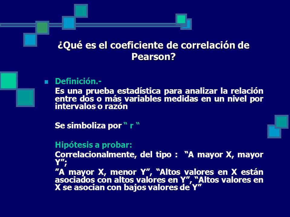 ¿Qué es el coeficiente de correlación de Pearson? Definición.- Es una prueba estadística para analizar la relación entre dos o más variables medidas e