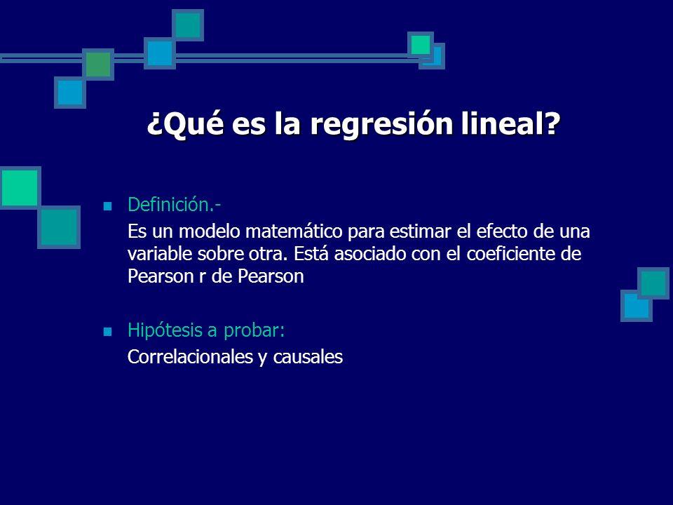 ¿Qué es la regresión lineal? Definición.- Es un modelo matemático para estimar el efecto de una variable sobre otra. Está asociado con el coeficiente
