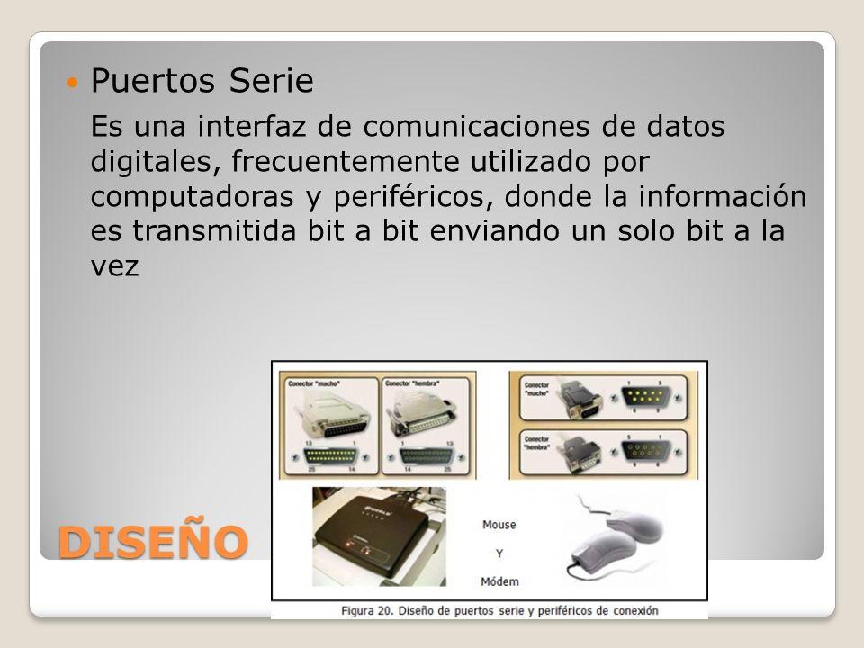DISEÑO Puertos Serie Es una interfaz de comunicaciones de datos digitales, frecuentemente utilizado por computadoras y periféricos, donde la informaci