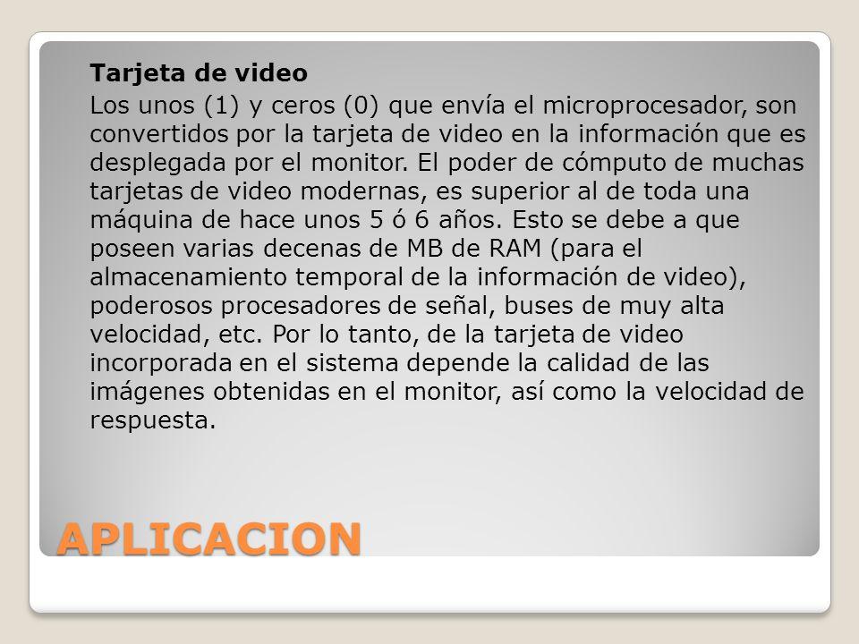 APLICACION Tarjeta de video Los unos (1) y ceros (0) que envía el microprocesador, son convertidos por la tarjeta de video en la información que es de