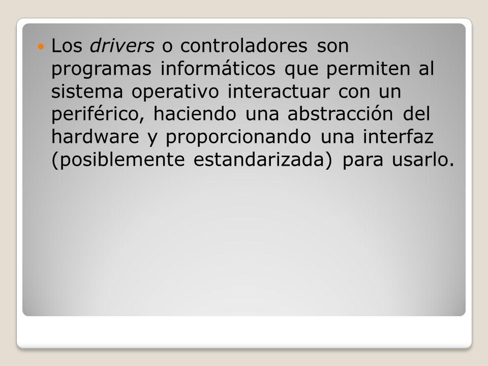 Los drivers o controladores son programas informáticos que permiten al sistema operativo interactuar con un periférico, haciendo una abstracción del h