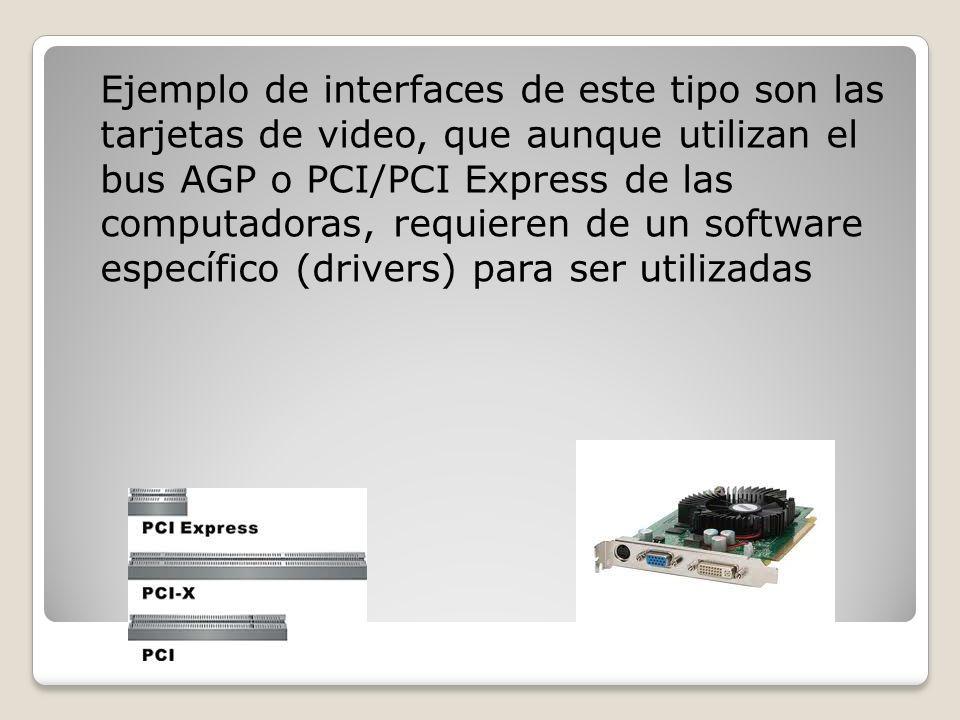Ejemplo de interfaces de este tipo son las tarjetas de video, que aunque utilizan el bus AGP o PCI/PCI Express de las computadoras, requieren de un so