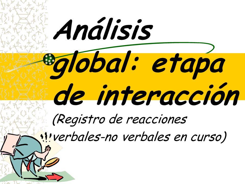 Análisis global: etapa de interacción (Registro de reacciones verbales-no verbales en curso)