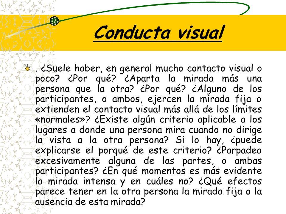Conducta visual.¿Suele haber, en general mucho contacto visual o poco.
