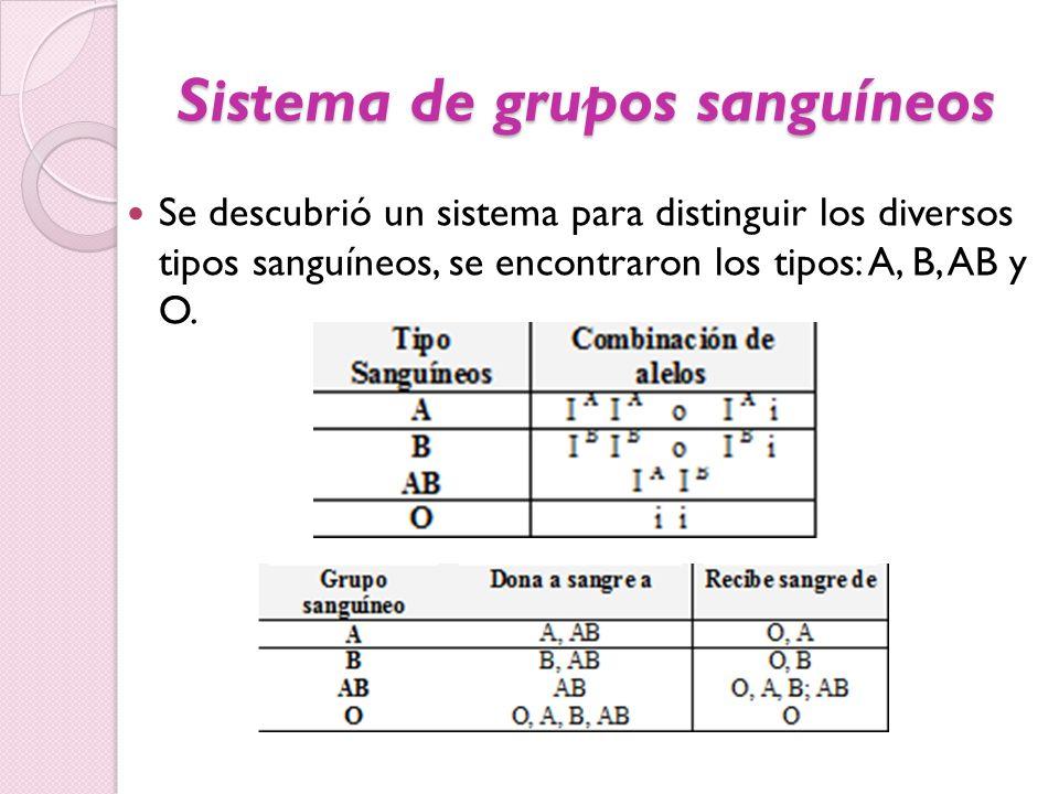 Sistema de grupos sanguíneos Se descubrió un sistema para distinguir los diversos tipos sanguíneos, se encontraron los tipos: A, B, AB y O.