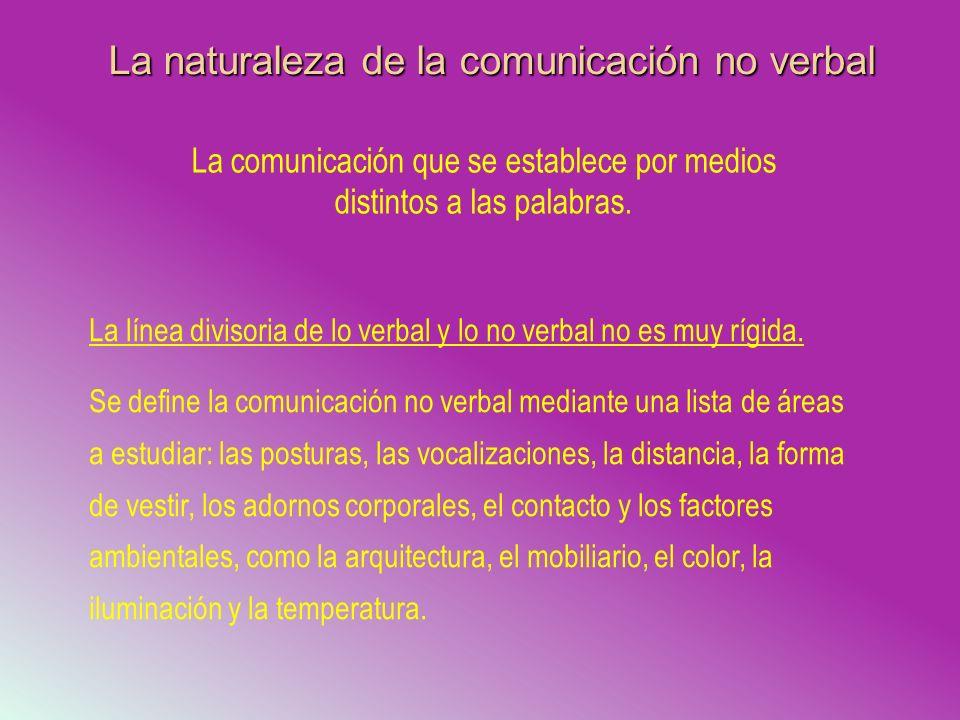 La naturaleza de la comunicación no verbal La comunicación que se establece por medios distintos a las palabras. La línea divisoria de lo verbal y lo