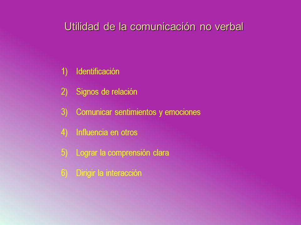 Utilidad de la comunicación no verbal 1)Identificación 2)Signos de relación 3)Comunicar sentimientos y emociones 4)Influencia en otros 5)Lograr la com