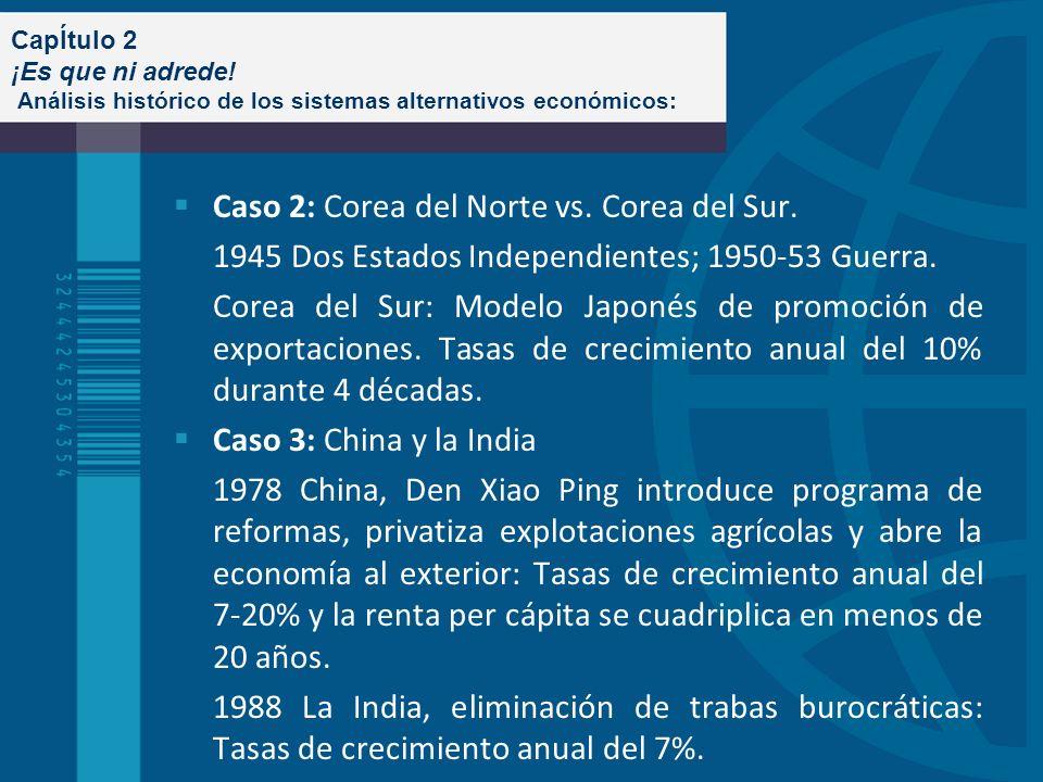 CapÍtulo 2 ¡Es que ni adrede! Análisis histórico de los sistemas alternativos económicos: Caso 2: Corea del Norte vs. Corea del Sur. 1945 Dos Estados