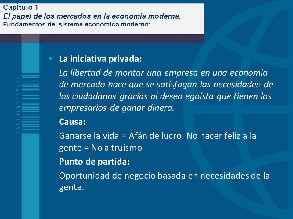 CapÍtulo 1 El papel de los mercados en la economía moderna. Fundamentos del sistema económico moderno: La iniciativa privada: La libertad de montar un