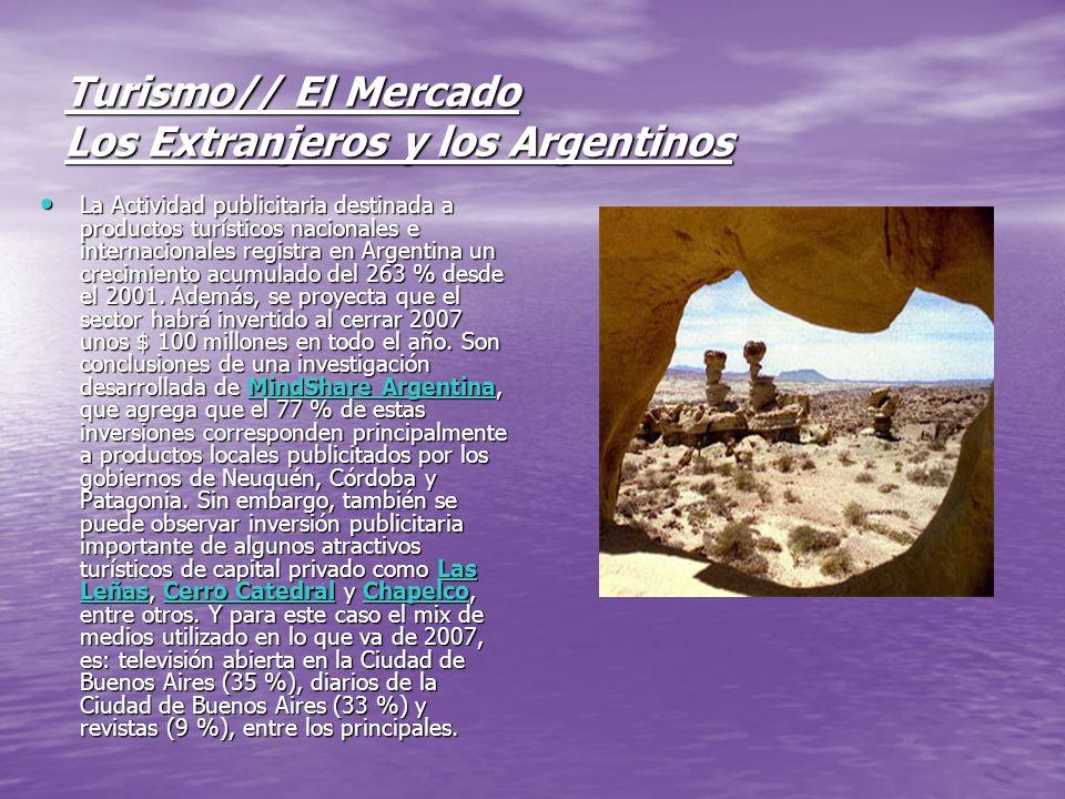 Turismo// El Mercado Los Extranjeros y los Argentinos La Actividad publicitaria destinada a productos turísticos nacionales e internacionales registra