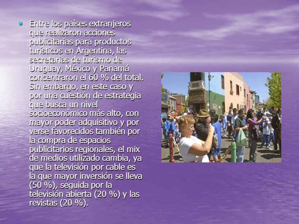 Entre los países extranjeros que realizaron acciones publicitarias para productos turísticos en Argentina, las secretarias de turismo de Uruguay, Méxi