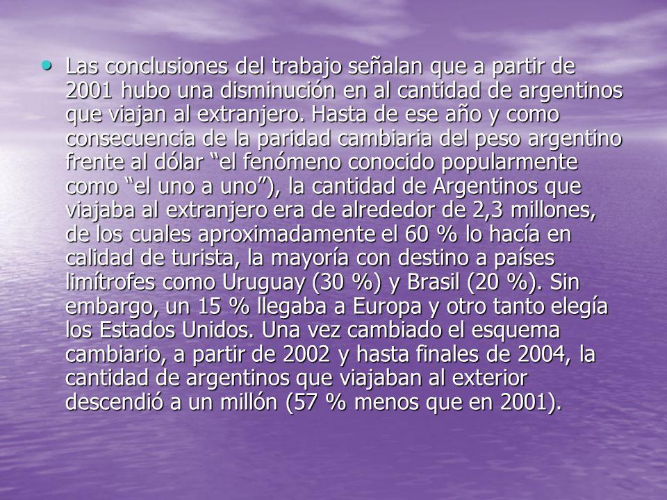 Las conclusiones del trabajo señalan que a partir de 2001 hubo una disminución en al cantidad de argentinos que viajan al extranjero. Hasta de ese año