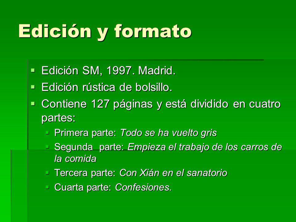 Edición y formato Edición SM, 1997. Madrid. Edición SM, 1997. Madrid. Edición rústica de bolsillo. Edición rústica de bolsillo. Contiene 127 páginas y