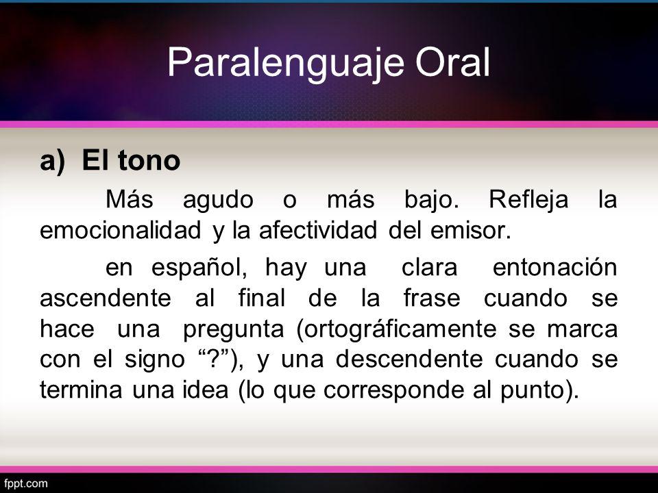 Paralenguaje Oral a) El tono Más agudo o más bajo. Refleja la emocionalidad y la afectividad del emisor. en español, hay una clara entonación ascenden