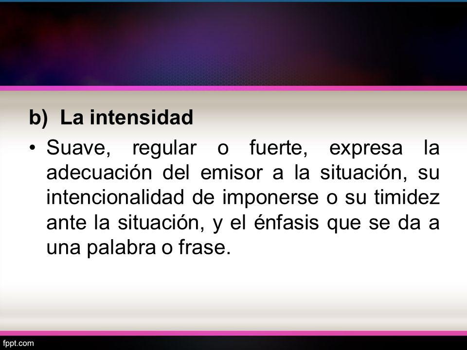 b) La intensidad Suave, regular o fuerte, expresa la adecuación del emisor a la situación, su intencionalidad de imponerse o su timidez ante la situac