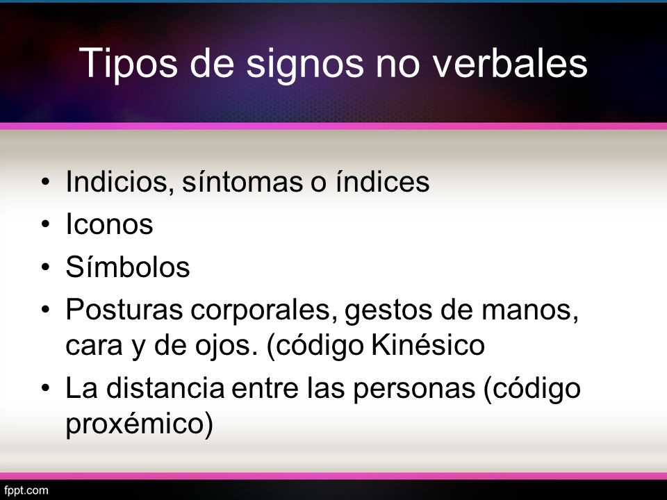 Tipos de signos no verbales Indicios, síntomas o índices Iconos Símbolos Posturas corporales, gestos de manos, cara y de ojos. (código Kinésico La dis
