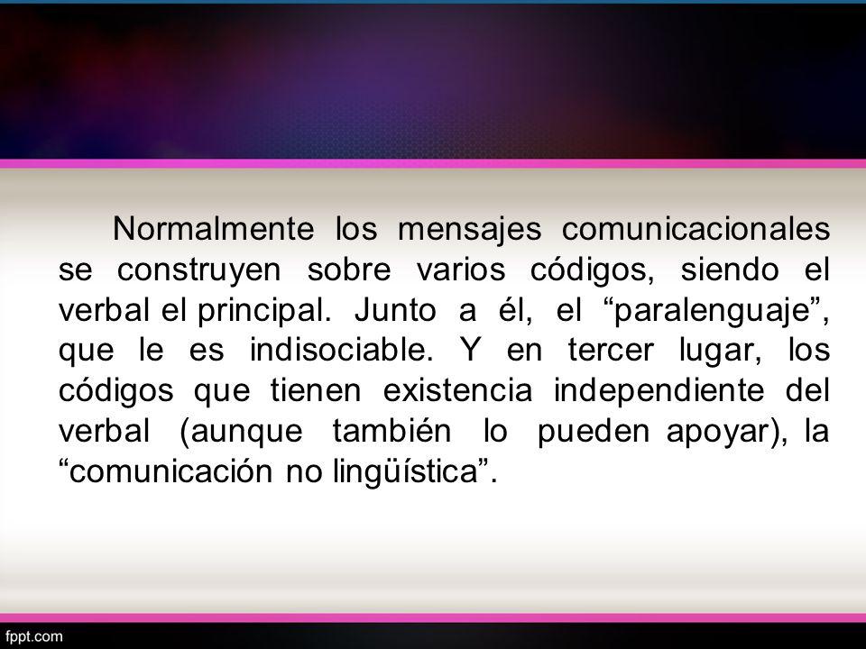 Normalmente los mensajes comunicacionales se construyen sobre varios códigos, siendo el verbal el principal. Junto a él, el paralenguaje, que le es in