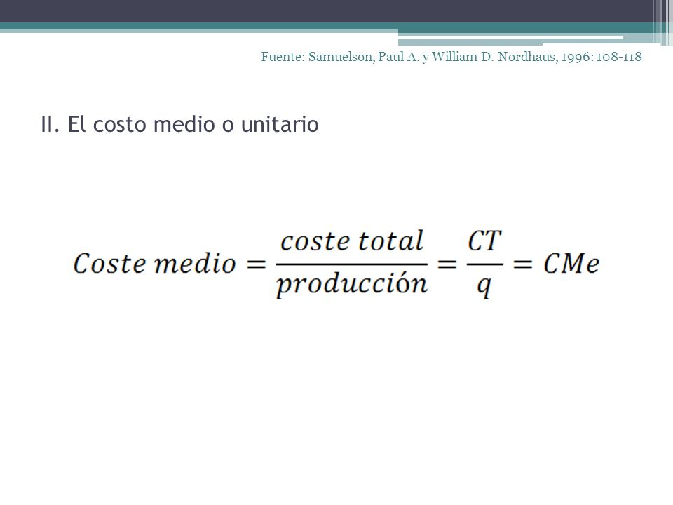 II. El costo medio o unitario Fuente: Samuelson, Paul A. y William D. Nordhaus, 1996: 108-118
