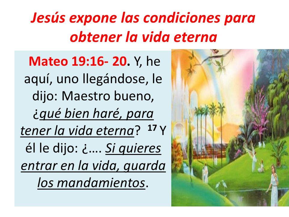 Jesús expone las condiciones para obtener la vida eterna Mateo 19:16- 20. Y, he aquí, uno llegándose, le dijo: Maestro bueno, ¿qué bien haré, para ten