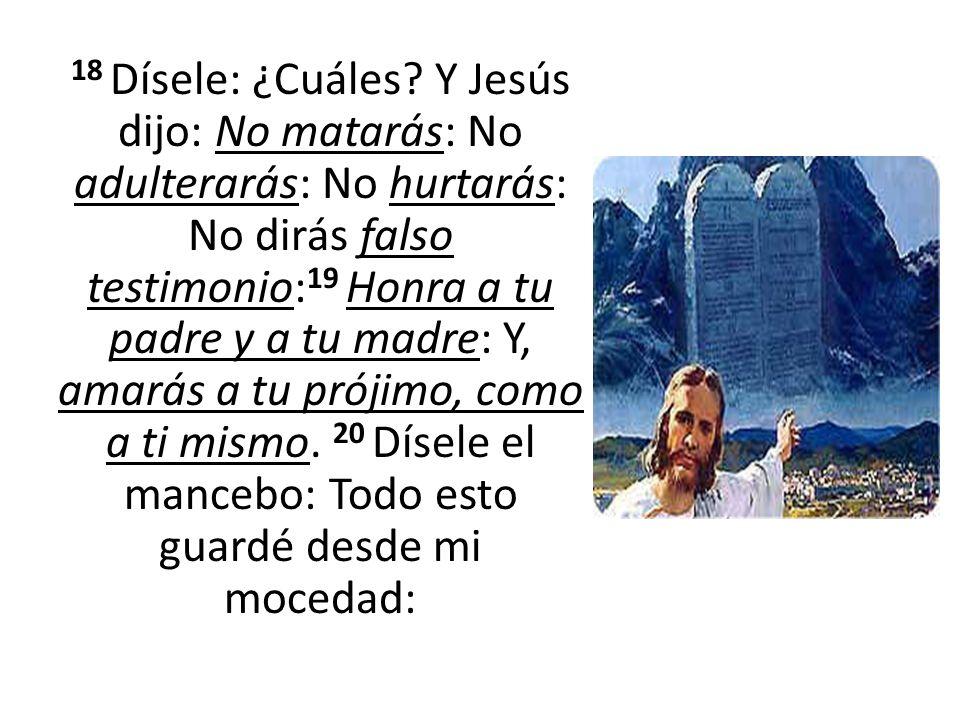 18 Dísele: ¿Cuáles? Y Jesús dijo: No matarás: No adulterarás: No hurtarás: No dirás falso testimonio: 19 Honra a tu padre y a tu madre: Y, amarás a tu