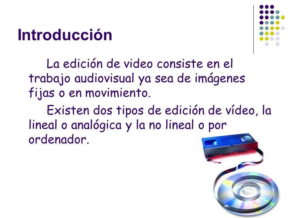 Introducción La edición de video consiste en el trabajo audiovisual ya sea de imágenes fijas o en movimiento. Existen dos tipos de edición de vídeo, l