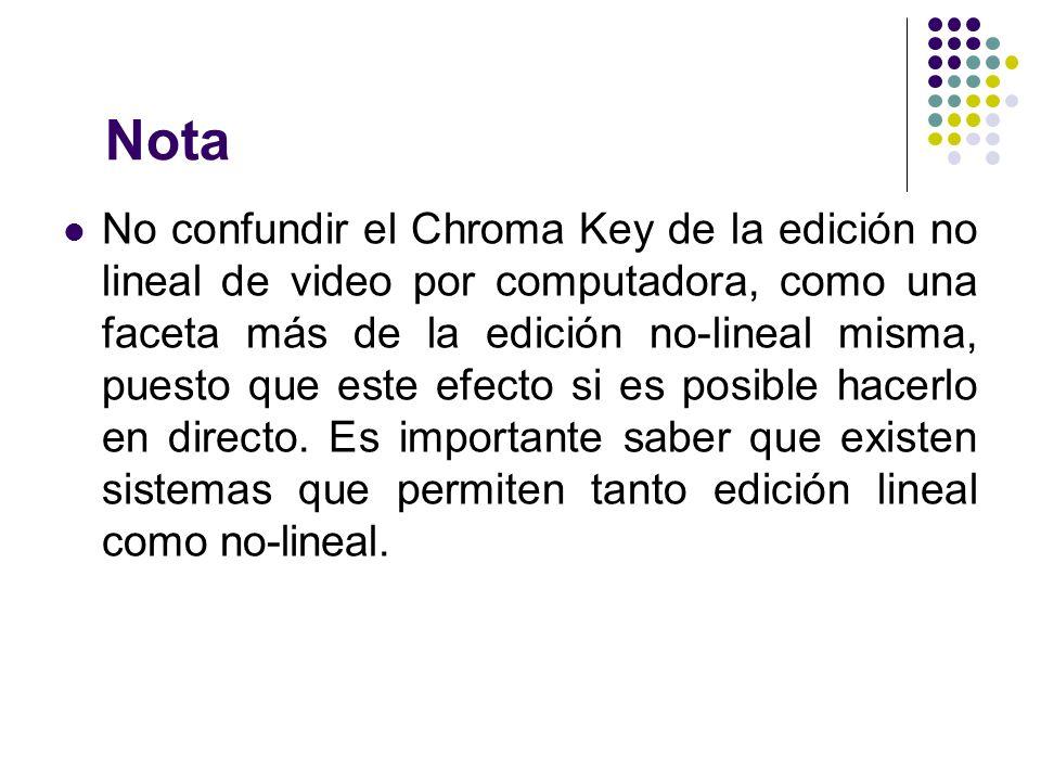 Nota No confundir el Chroma Key de la edición no lineal de video por computadora, como una faceta más de la edición no-lineal misma, puesto que este e