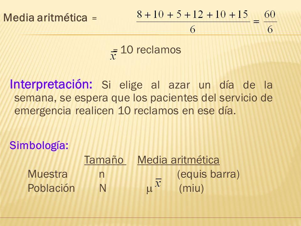 La media aritmética ( ) a) Obtención: Se obtiene sumando los valores registrados y dividiéndolos entre el número de datos. Ejemplo: La siguiente tabla