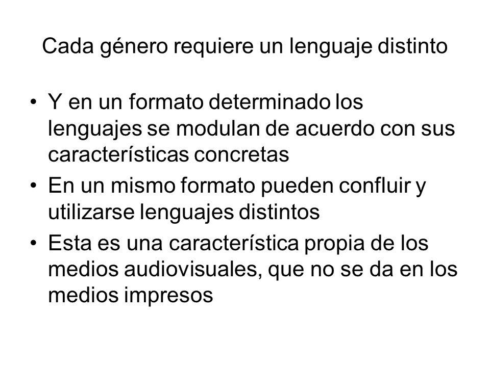 Cada género requiere un lenguaje distinto Y en un formato determinado los lenguajes se modulan de acuerdo con sus características concretas En un mism
