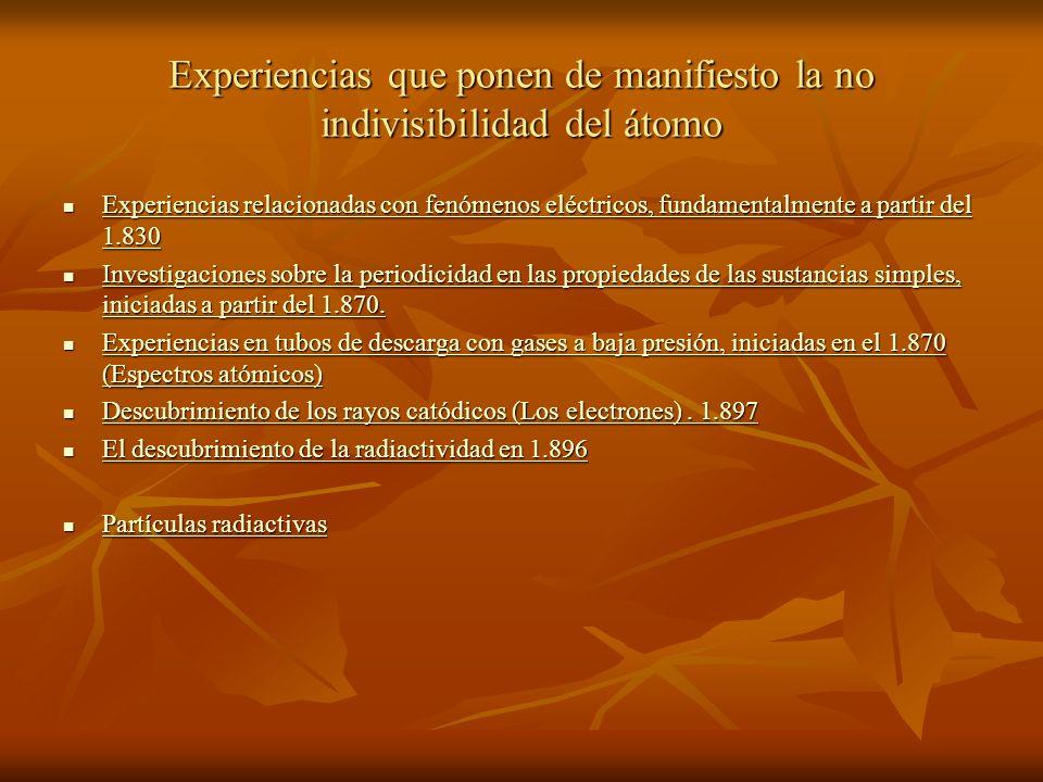 Experiencias que ponen de manifiesto la no indivisibilidad del átomo Experiencias relacionadas con fenómenos eléctricos, fundamentalmente a partir del