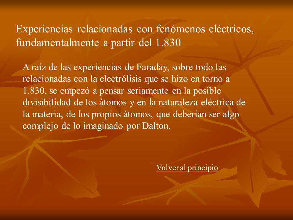 A raíz de las experiencias de Faraday, sobre todo las relacionadas con la electrólisis que se hizo en torno a 1.830, se empezó a pensar seriamente en la posible divisibilidad de los átomos y en la naturaleza eléctrica de la materia, de los propios átomos, que deberían ser algo complejo de lo imaginado por Dalton.