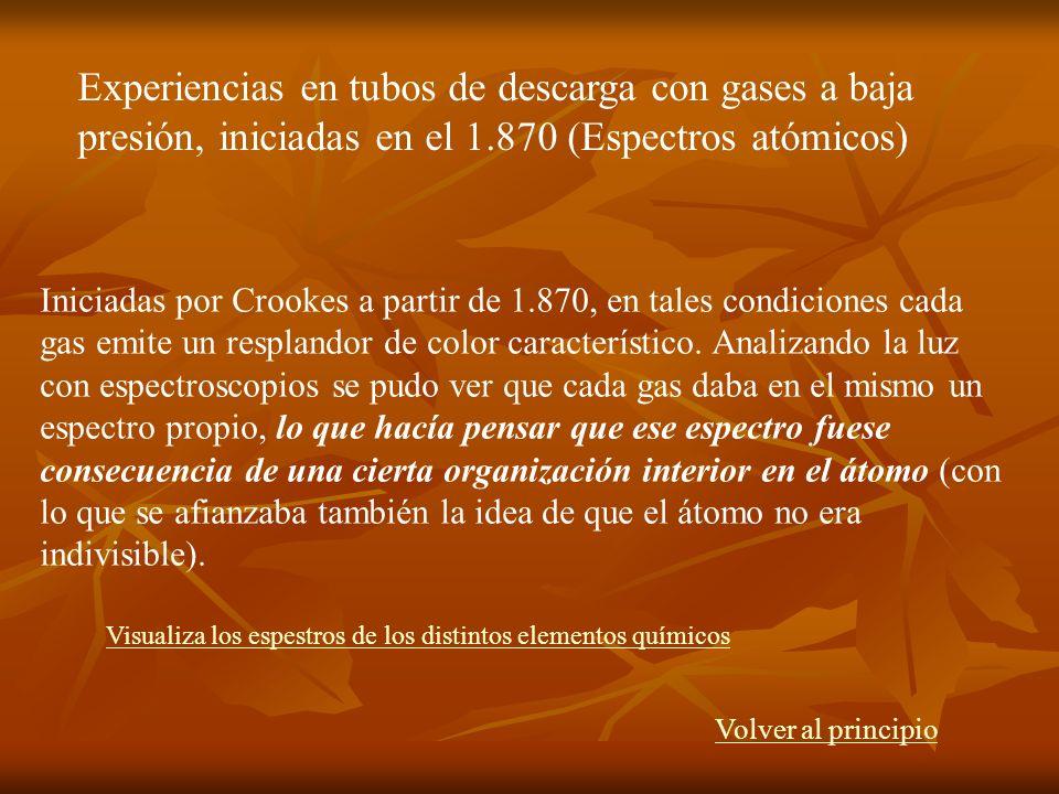 Iniciadas por Crookes a partir de 1.870, en tales condiciones cada gas emite un resplandor de color característico. Analizando la luz con espectroscop