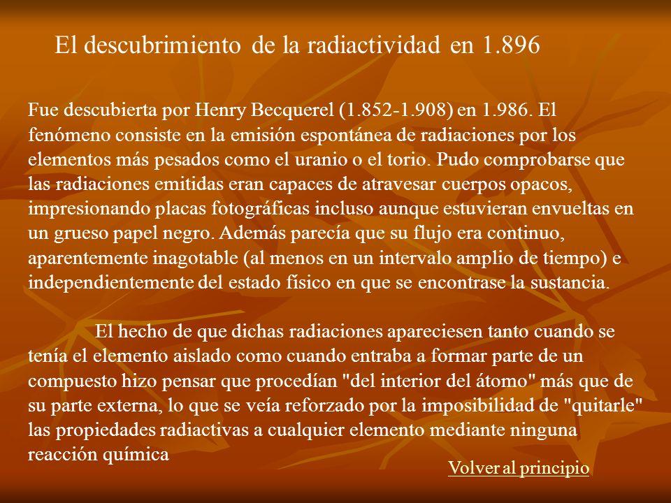 Fue descubierta por Henry Becquerel (1.852-1.908) en 1.986. El fenómeno consiste en la emisión espontánea de radiaciones por los elementos más pesados