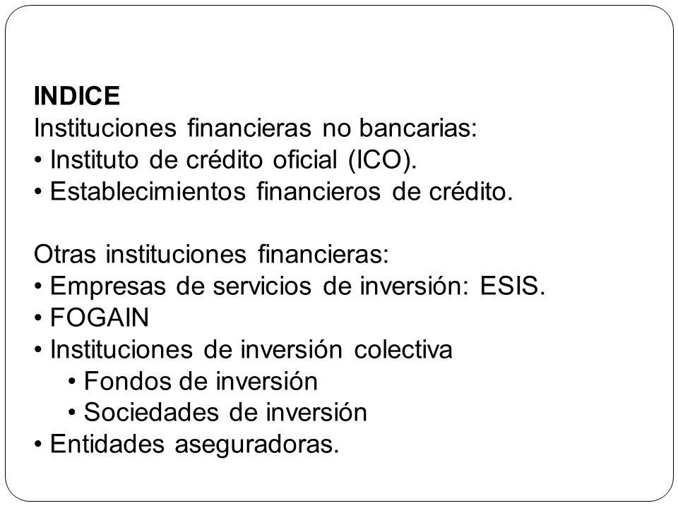 INDICE Instituciones financieras no bancarias: Instituto de crédito oficial (ICO). Establecimientos financieros de crédito. Otras instituciones financ