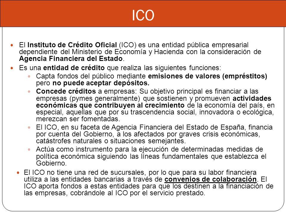 ICO El Instituto de Crédito Oficial (ICO) es una entidad pública empresarial dependiente del Ministerio de Economía y Hacienda con la consideración de