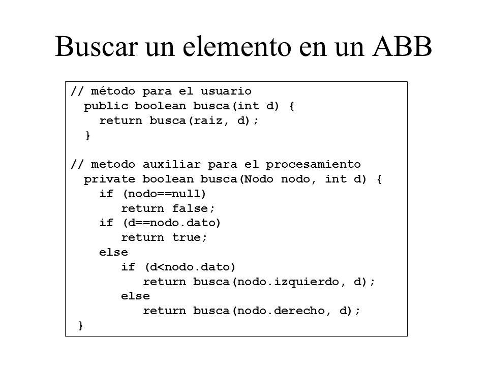 Buscar un elemento en un ABB // método para el usuario public boolean busca(int d) { return busca(raiz, d); } // metodo auxiliar para el procesamiento