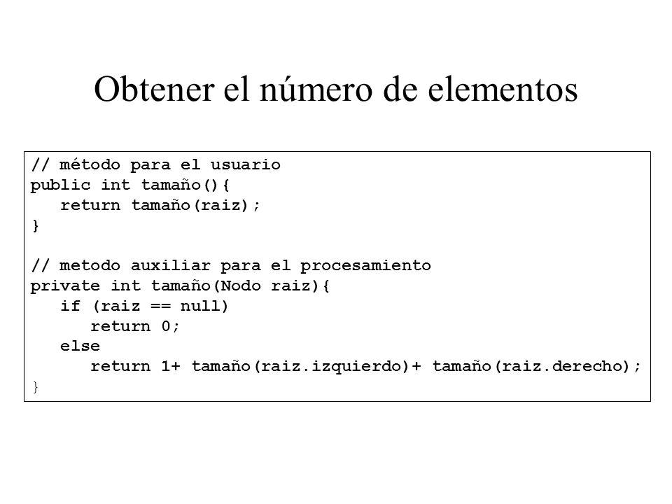Obtener el número de elementos // método para el usuario public int tamaño(){ return tamaño(raiz); } // metodo auxiliar para el procesamiento private
